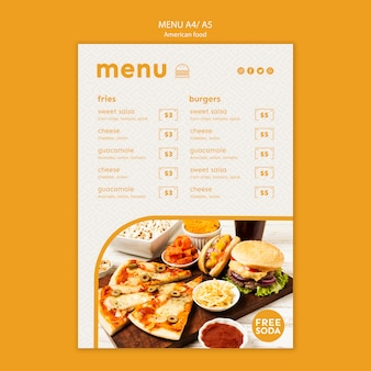 American food menu template