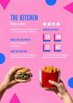 American food menu with burger and fries