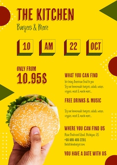 Американская еда меню с гамбургером