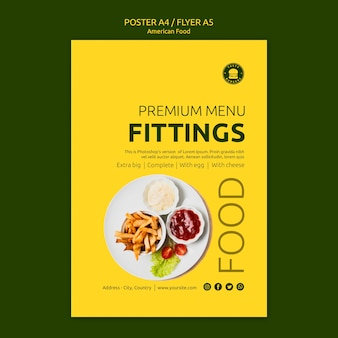 American food poster concept template
