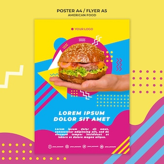 American food poster template with photo
