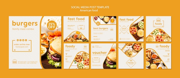 American food social media post template