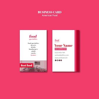 American food template business card