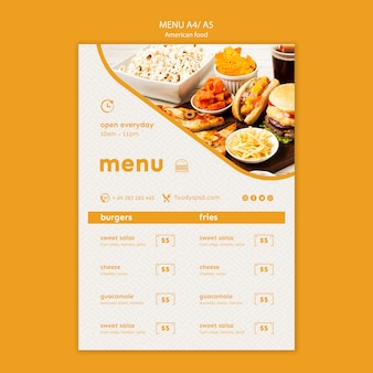 American food template menu