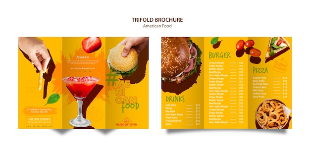 American food trifold brochure design