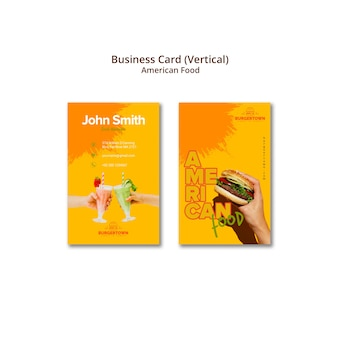 American food vertical business card