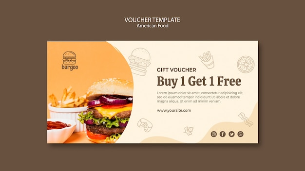 American food voucher template concept