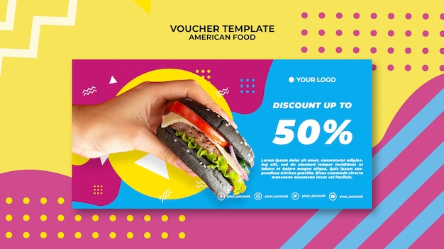 American food voucher template with photo