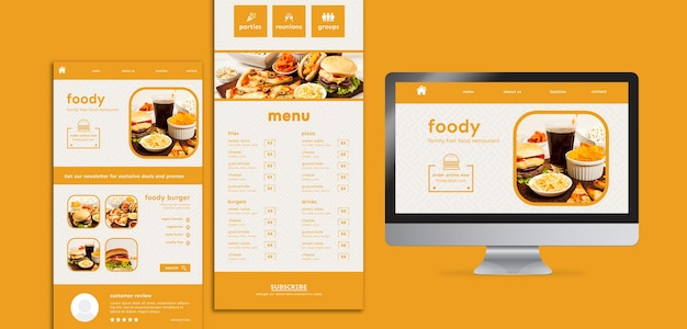 American food website and app interface template
