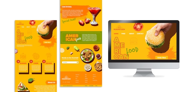 American food with computer Free Psd