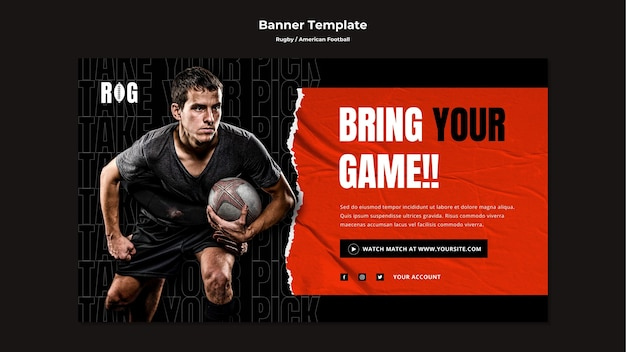 American football banner template
