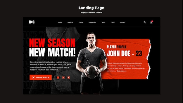 American football landing page