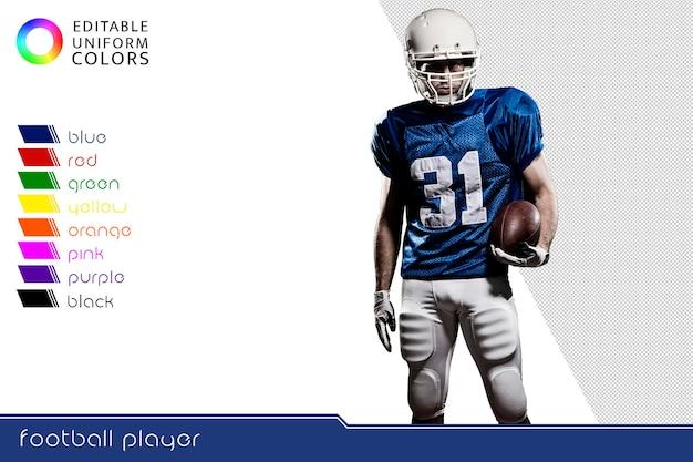 いくつかのカラフルなユニフォームを持つアメリカンフットボール選手