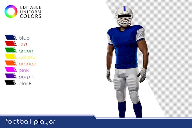 Giocatore di football americano con diverse divise colorate Psd Gratuite