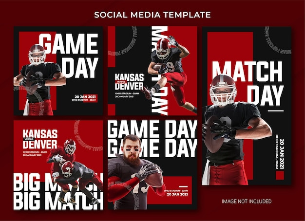American football social media post bundle template