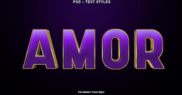 Шаблон стиля текстовых эффектов amor