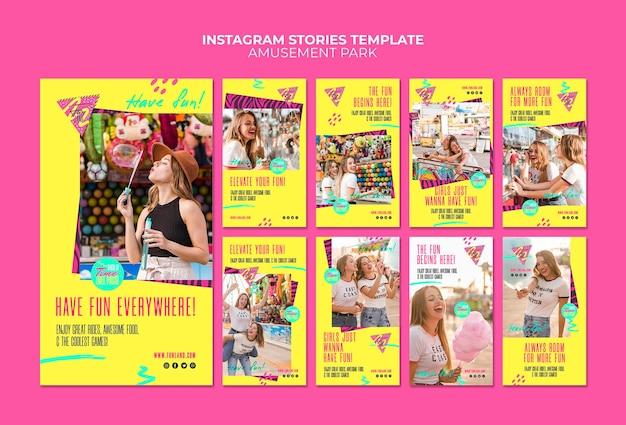 Modello di storie del instagram di concetto del parco di divertimenti