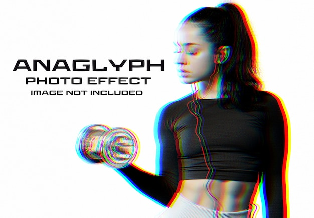 Anaglyph glitch photo effect mockup
