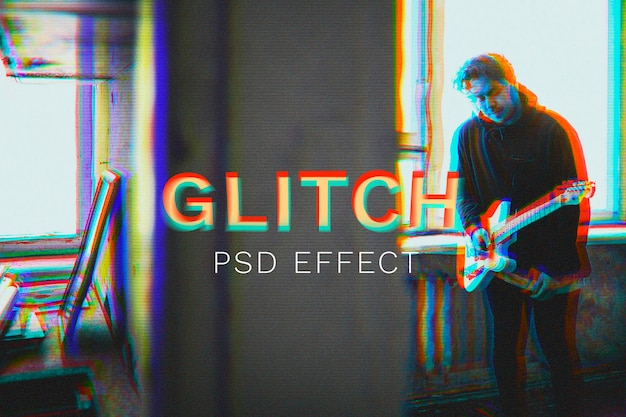 Anaglyph glitch psd effect in 3d tone with group of friends walk