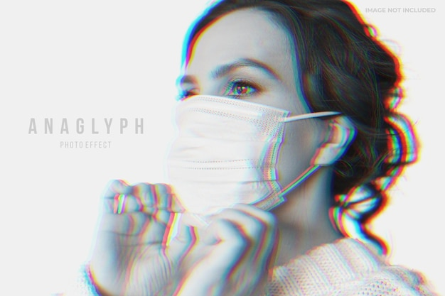 Anaglyph photo effect template