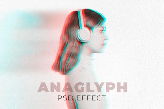 Componente aggiuntivo di photoshop con effetto anaglifo psd