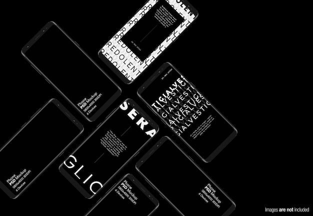 Изолированный макет коллекции телефонов android