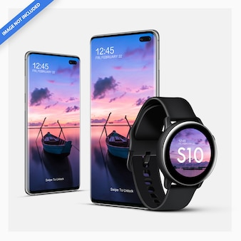 Android smartphone mockup with smartwatch