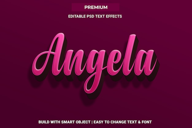 Angela - 3d pink text effect