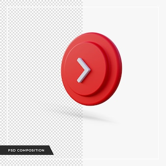 Angle arrow pointing to right red 3d render