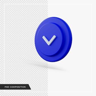 파란색 3d 렌더링 아래쪽을 가리키는 각도 화살표