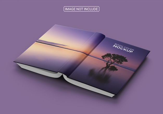 Angle view book cover on blue background mockup