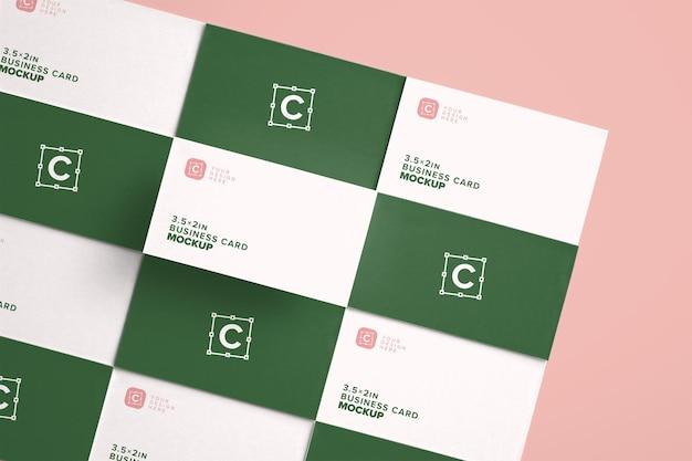 Angled business card mockup layout