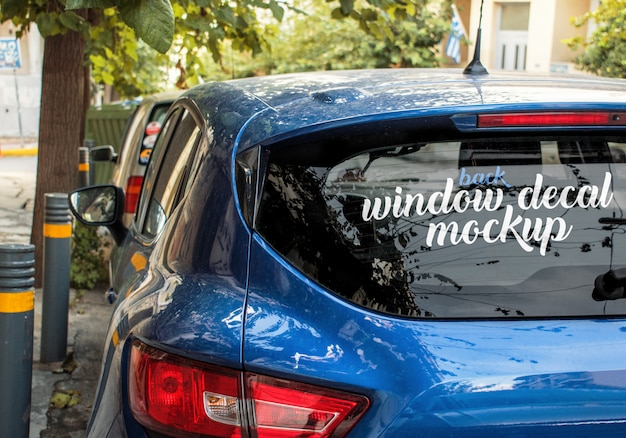 Angled template of the back window decal of a blue car