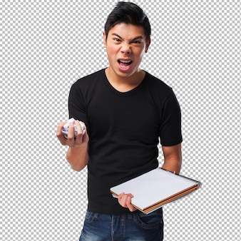 Angry chinese man with a notebook