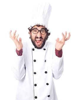 怒っている料理人