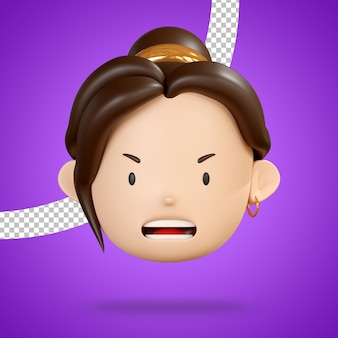 Angry face of woman character emoji 3d render isolated