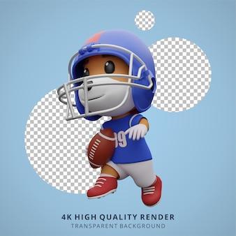 Животное собака игрок в американский футбол 3d милый персонаж иллюстрации