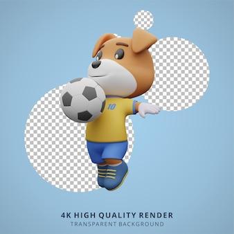 Животное собака футбол или футболист 3d милый персонаж иллюстрация