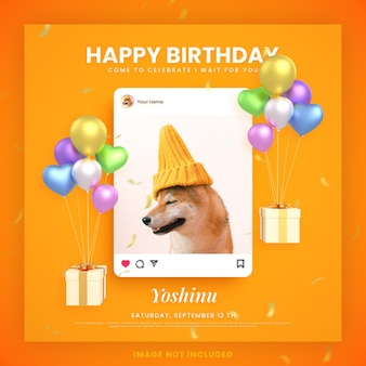 Animal or dog happy birthday invitation card for instagram social media post template with mockup