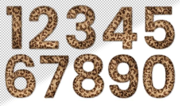 Set di numeri di pelliccia animale