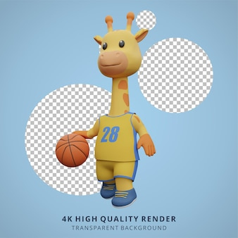 バスケットボールをする動物のキリン3dかわいいキャラクターイラスト