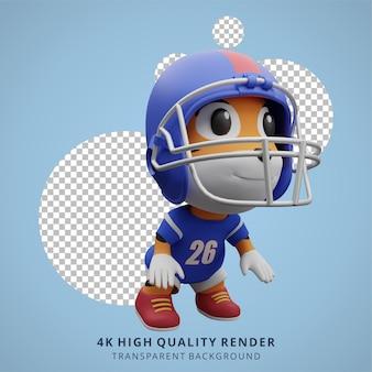 動物の虎アメリカンフットボール選手の3dかわいいキャラクターのイラスト