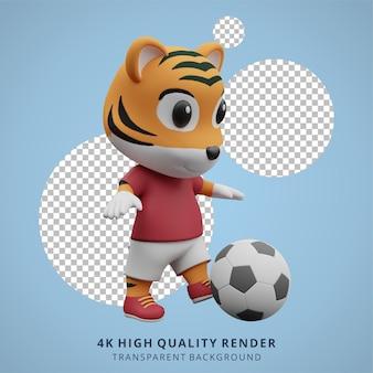 Животное тигр футбол или футболист 3d милый персонаж иллюстрация