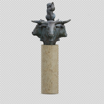 Animals statue 3d isolated render