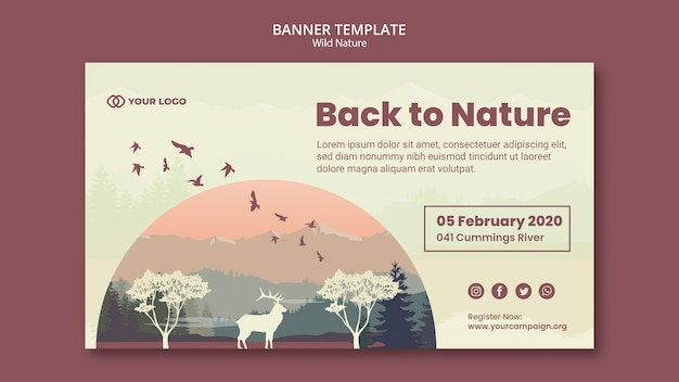 Animals at sundown wild nature banner