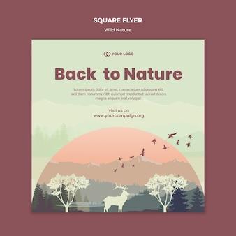 Animals at sundown wild nature square flyer