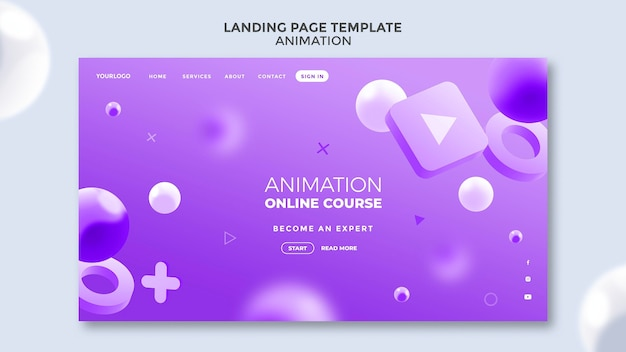 Animation class landing page
