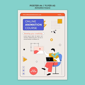 Animation course flyer template