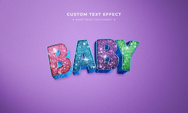 Animation movie glitter 3d text style