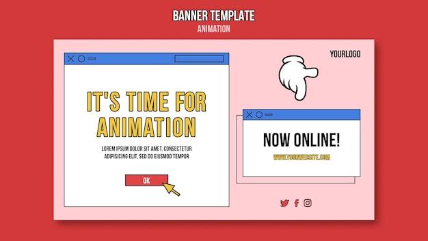 Modello di banner di classe online di animazione